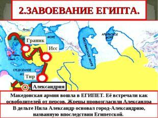 Тир Исс Граник 2.ЗАВОЕВАНИЕ ЕГИПТА. Македонская армия вошла в ЕГИПЕТ. Её встр