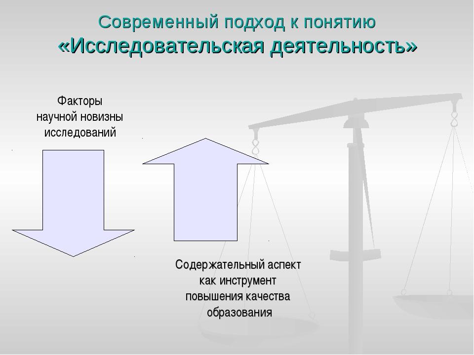 Современный подход к понятию «Исследовательская деятельность» Содержательный...