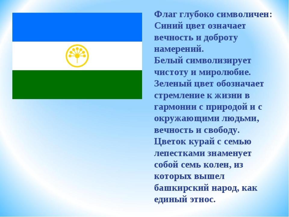 Флаг глубоко символичен: Синий цвет означает вечность и доброту намерений. Бе...