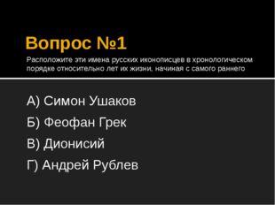 Вопрос №1 Расположите эти имена русских иконописцев в хронологическом порядке