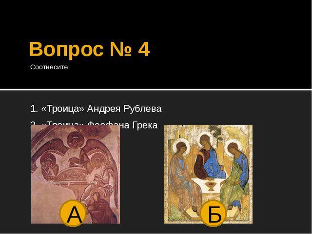 Вопрос № 4 Соотнесите: 1. «Троица» Андрея Рублева 2. «Троица» Феофана Грека А Б