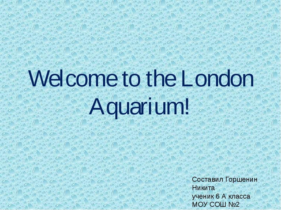 Welcome to the London Aquarium! Составил Горшенин Никита ученик 6 А класса МО...