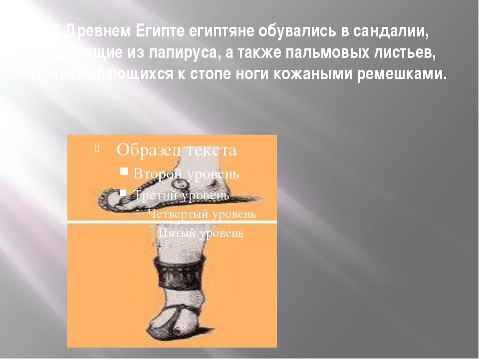 В Древнем Египте египтяне обувались в сандалии, состоящие из папируса, а такж...