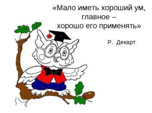 «Мало иметь хороший ум, главное – хорошо его применять» Р. Декарт