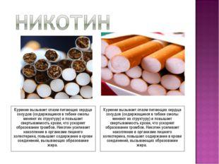 Курение вызывает спазм питающих сердце сосудов (содержащиеся в табаке смолы м