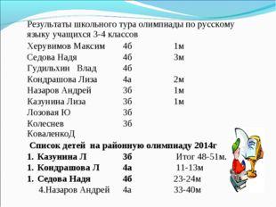 Результаты школьного тура олимпиады по русскому языку учащихся 3-4 классов