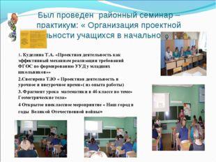 Был проведен районный семинар – практикум: « Организация проектной деятельнос