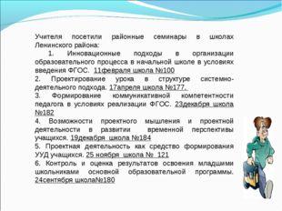Учителя посетили районные семинары в школах Ленинского района: 1. Инновационн
