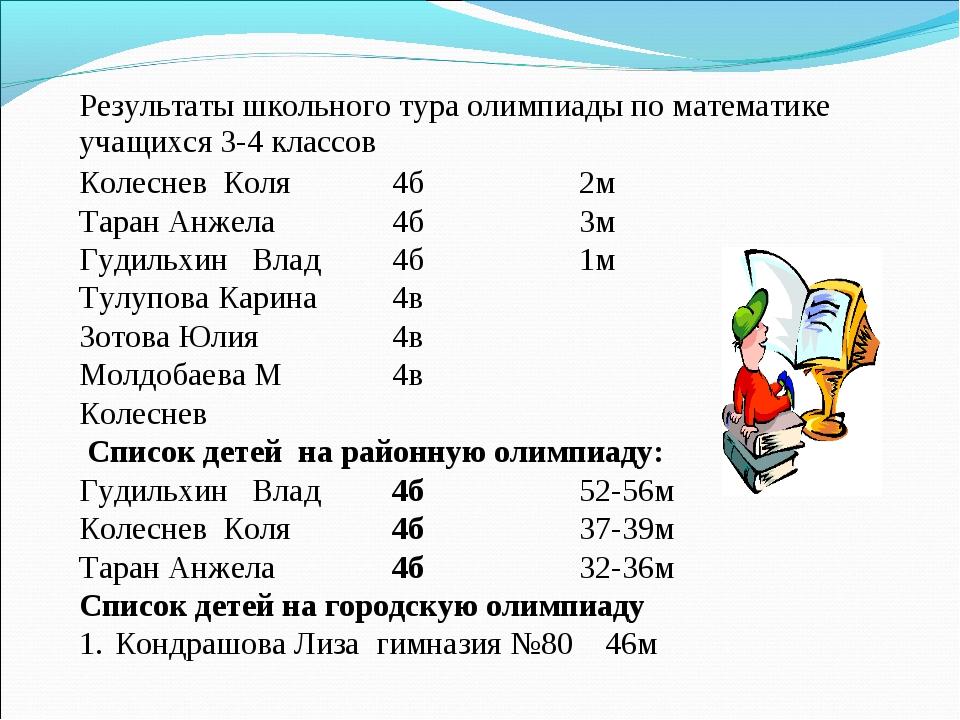 Результаты школьного тура олимпиады по математике учащихся 3-4 классов  Коле...