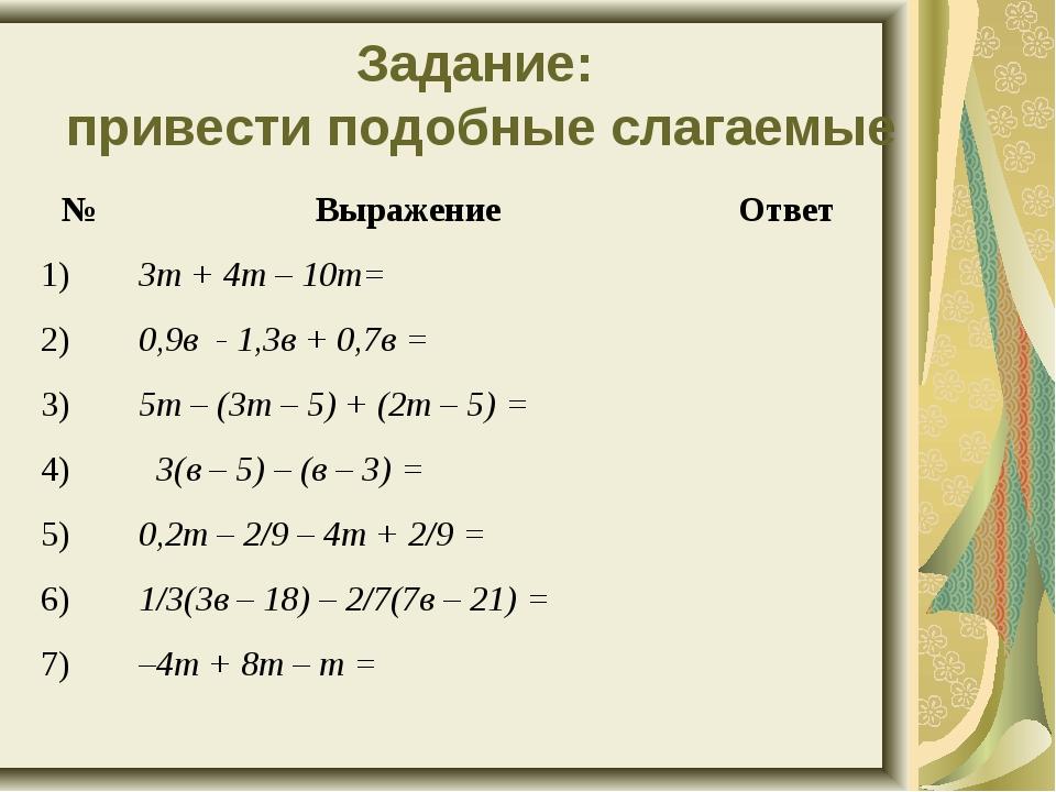 Задание: привести подобные слагаемые №Выражение Ответ 1)3т + 4т – 10т= 2)...