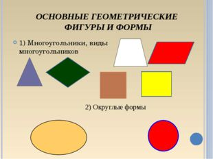 ОСНОВНЫЕ ГЕОМЕТРИЧЕСКИЕ ФИГУРЫ И ФОРМЫ 1) Многоугольники, виды многоугольнико