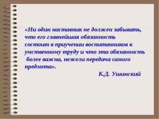 «Ни один наставник не должен забывать, что его главнейшая обязанность состои