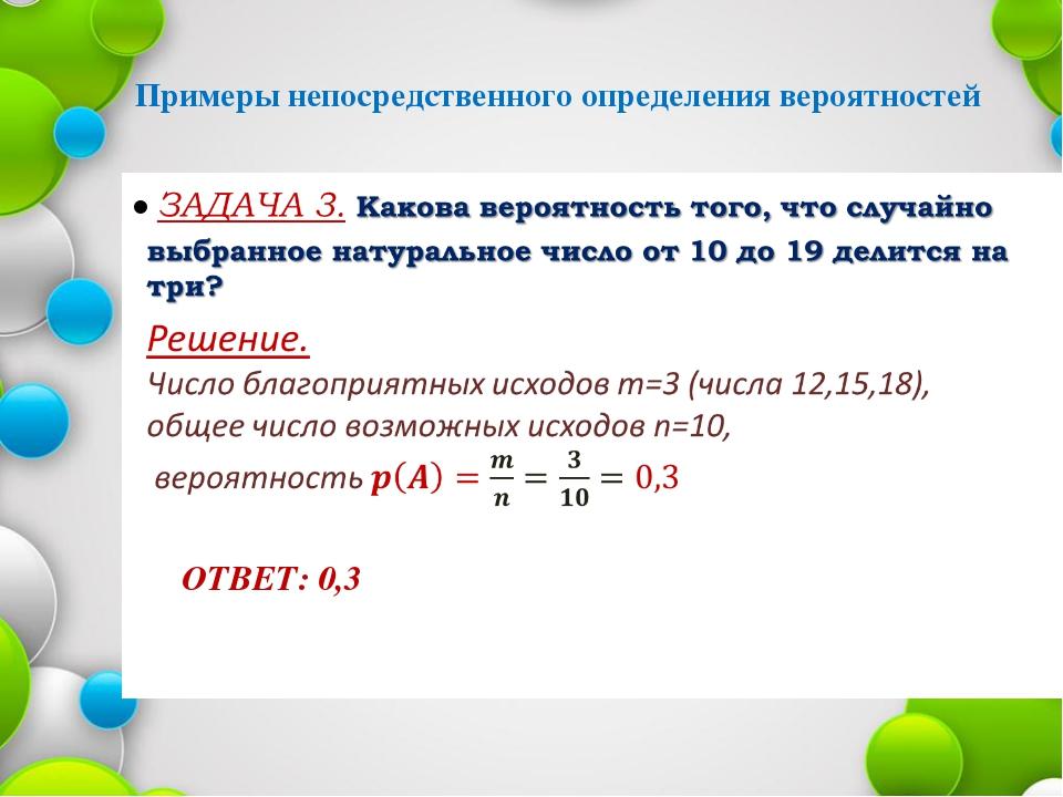 Примеры непосредственного определения вероятностей ОТВЕТ: 0,3