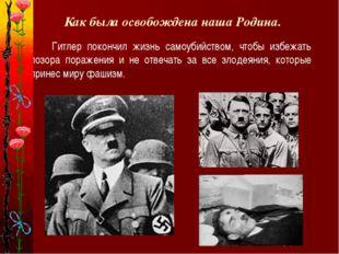 Как была освобождена наша Родина. Гитлер покончил жизнь самоубийством, чтобы
