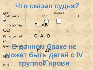 Что сказал судья? Дано: Решение -I группа IV гр. I гр. - IV группа P: АВ ОО F