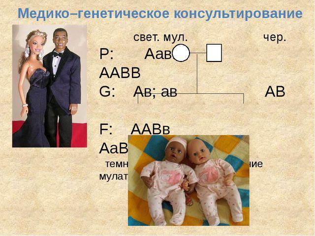 Медико–генетическое консультирование свет. мул. чер. P: Аавв ААВВ G: Ав; ав А...