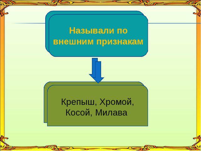 По внешним признакам Крепыш, Хромой, Косой, Милава Называли по внешним призна...