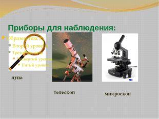 Приборы для наблюдения: лупа телескоп микроскоп