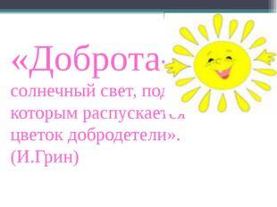 «Доброта- солнечный свет, под которым распускается цветок добродетели». (И.Гр