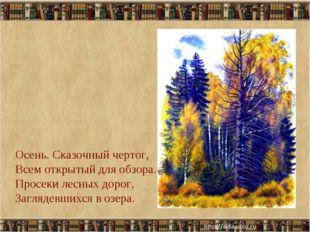 * Осень. Сказочный чертог, Всем открытый для обзора. Просеки лесных дорог, За