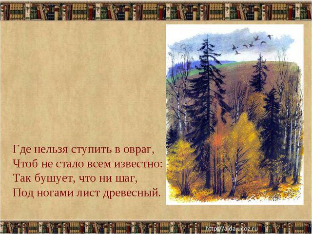 * Где нельзя ступить в овраг, Чтоб не стало всем известно: Так бушует, что ни...