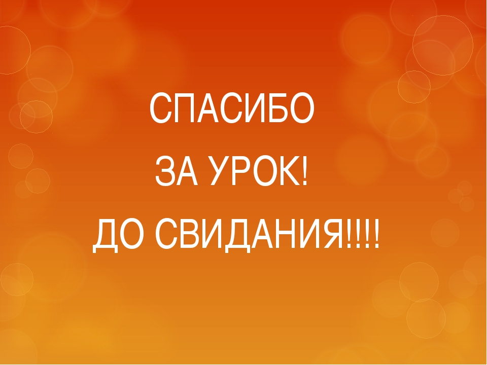 СПАСИБО ЗА УРОК! ДО СВИДАНИЯ!!!!
