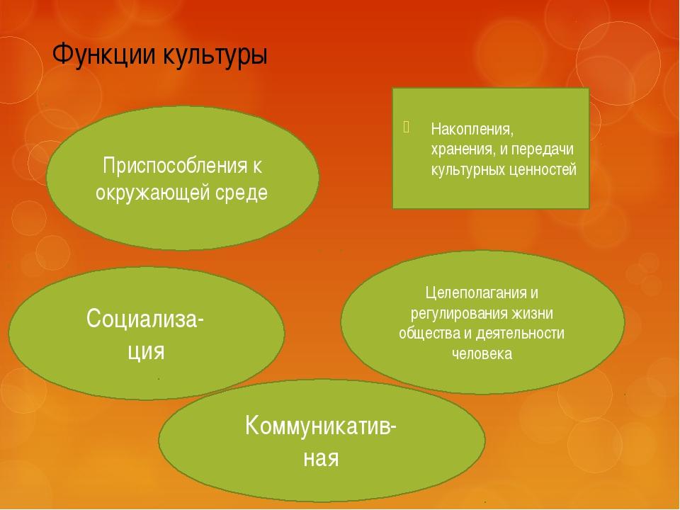 Функции культуры Накопления, хранения, и передачи культурных ценностей Приспо...