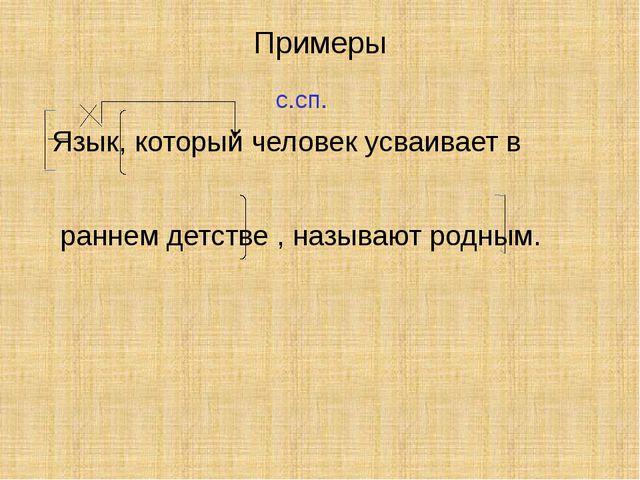 Примеры Язык, который человек усваивает в раннем детстве , называют родным. с...