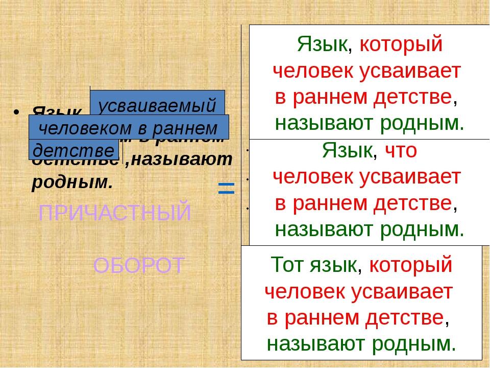 Язык, усваиваемый человеком в раннем детстве ,называют родным. Язык, который...
