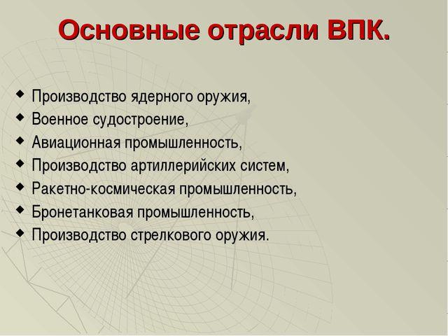 Основные отрасли ВПК. Производство ядерного оружия, Военное судостроение, Ави...