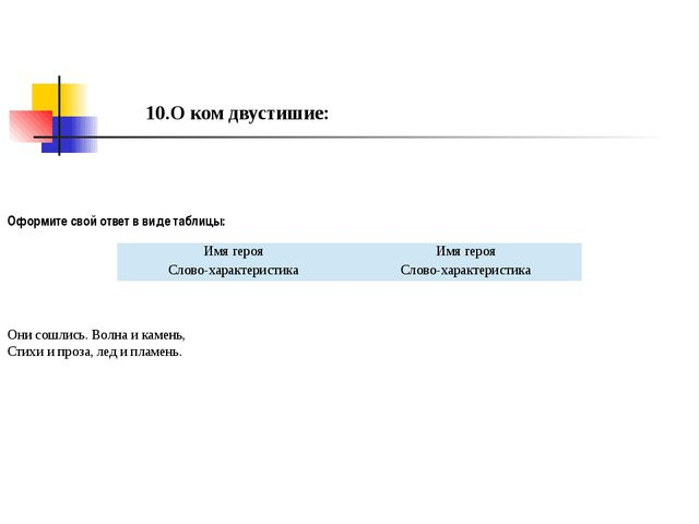 10.О ком двустишие: Оформите свой ответ в виде таблицы: Они сошлись. Волна и...