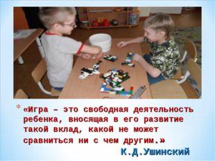 «Игра – это свободная деятельность ребенка, вносящая в его развитие такой вкл