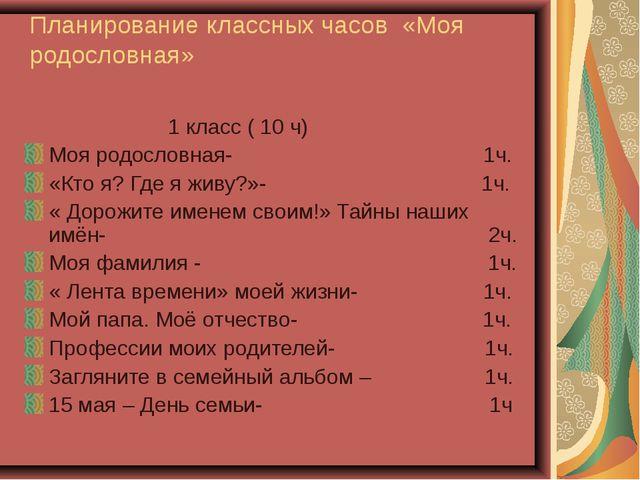 Планирование классных часов «Моя родословная» 1 класс ( 10 ч) Моя родословная...