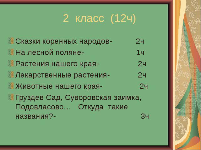 2 класс (12ч) Сказки коренных народов- 2ч На лесной поляне- 1ч Растения наше...