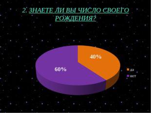2. ЗНАЕТЕ ЛИ ВЫ ЧИСЛО СВОЕГО РОЖДЕНИЯ? 60% 40%