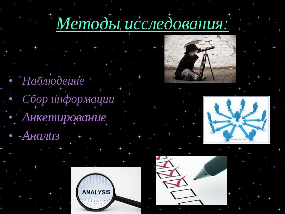 Методы исследования: •Наблюдение •Сбор информации •Анкетирование •Анализ