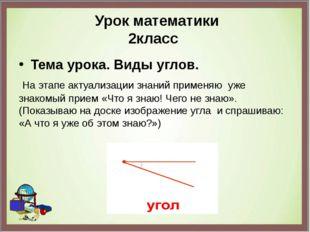 Урок математики 2класс Тема урока. Виды углов. На этапе актуализации знаний