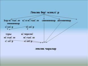 Лексик берәмлекләр  Бер мәгънәле күп мәгънәле синонимнар антонимнар омонимн