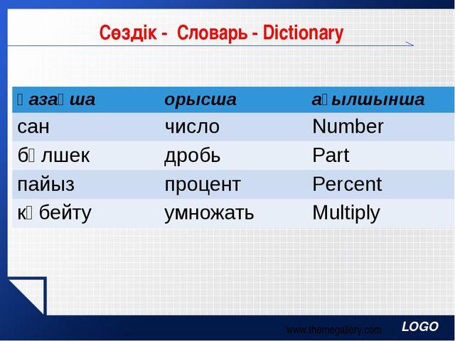 Сөздік - Словарь - Dictionary www.themegallery.com қазақша орысша ағылшынша с...