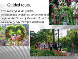 Guided tours. Free walking in the garden, accompanied by trained volunteers a