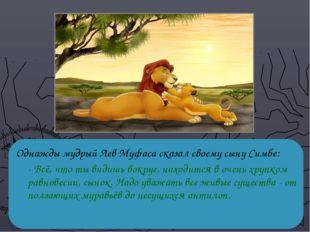 Однажды мудрый Лев Муфаса сказал своему сыну Симбе: - Всё, что ты видишь вок