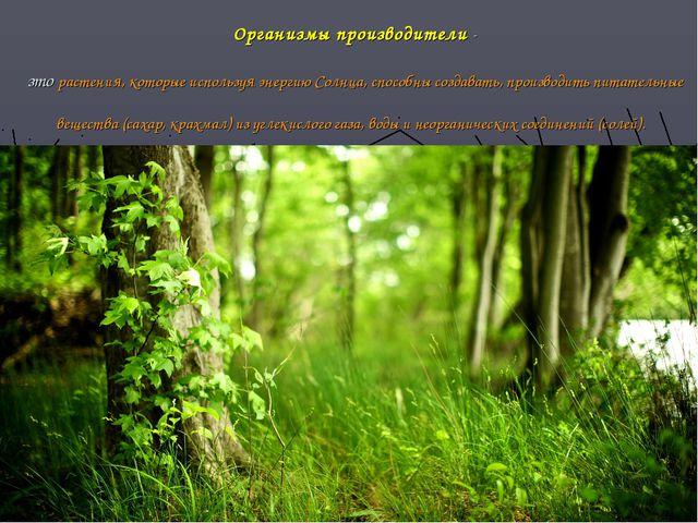 Организмы производители - зто растения, которые используя энергию Солнца, спо...