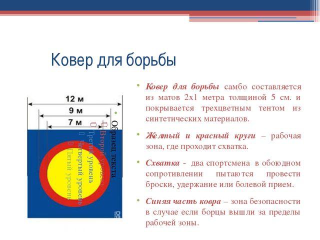 Ковер для борьбы Ковер для борьбы самбо составляется из матов 2х1 метра тол...