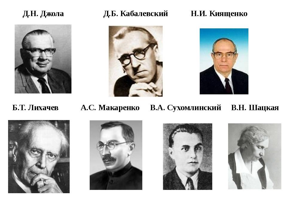 Д.Н. Джола Д.Б. Кабалевский Н.И. Киященко Б.Т. Лихачев А.С. Макаренко В.А. Су...