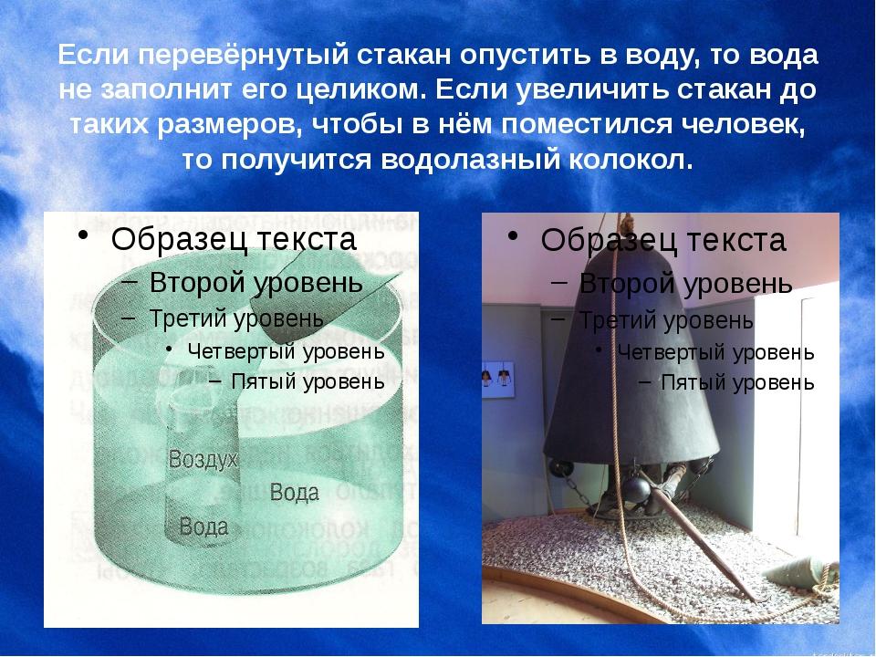 Если перевёрнутый стакан опустить в воду, то вода не заполнит его целиком. Ес...