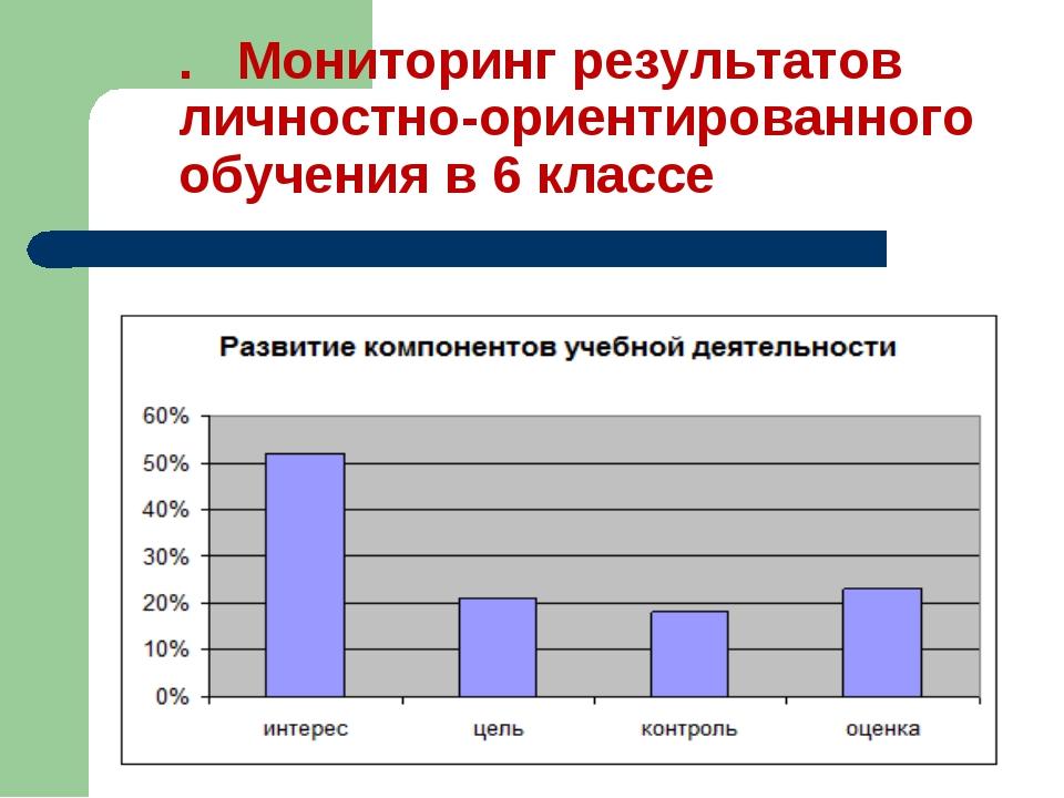 . Мониторинг результатов личностно-ориентированного обучения в 6 классе