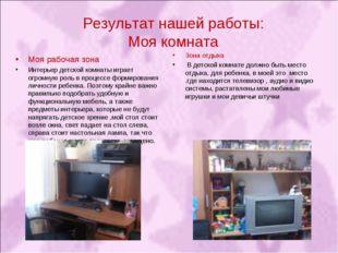 Результат нашей работы: Моя комната Моя рабочая зона Интерьер детской комнаты