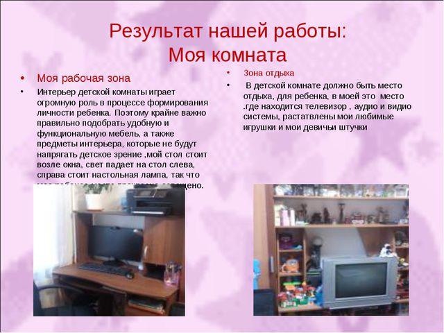 Результат нашей работы: Моя комната Моя рабочая зона Интерьер детской комнаты...
