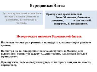Бородинская битва Русская армия понесла тяжёлые потери -58 тысяч убитыми и ра