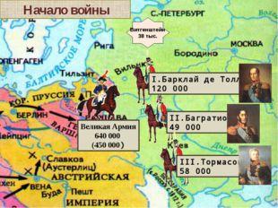 Начало войны Витгенштейн 38 тыс. Великая Армия 640 000 (450 000) III.Тормасо